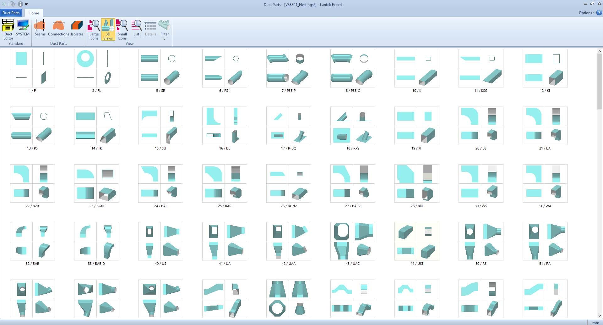 Lantek Expert Duct  - Bibliothèque de formes