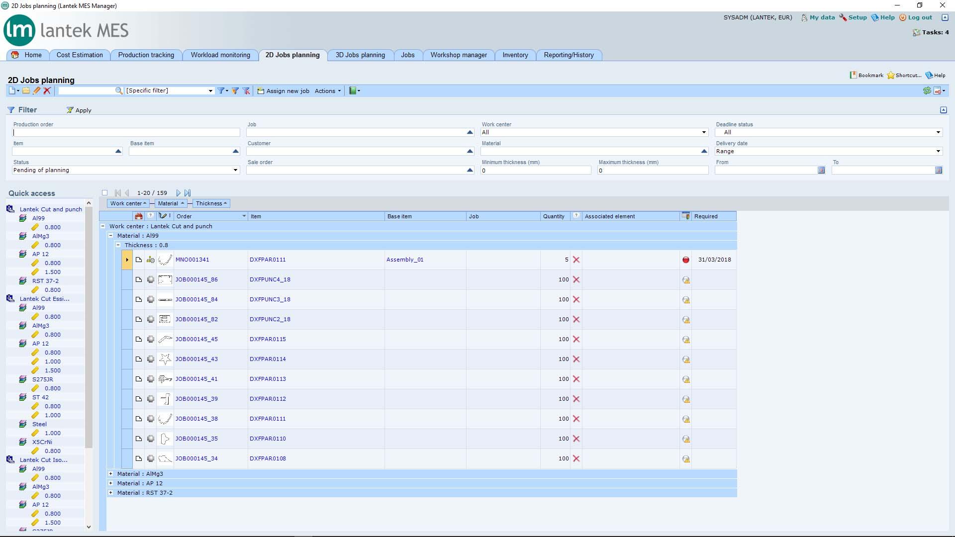 Lantek Manager  - Planung der 2D-Jobs
