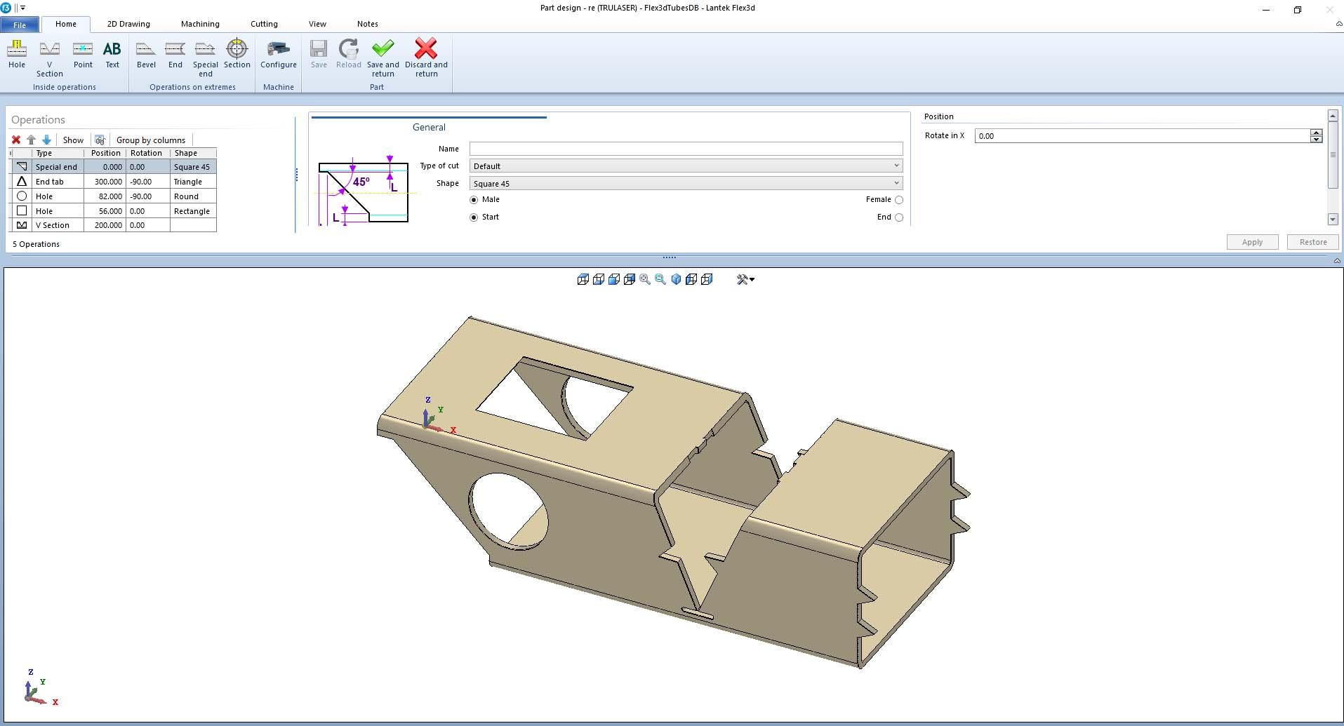 Lantek Flex3d Tubes  - Part design