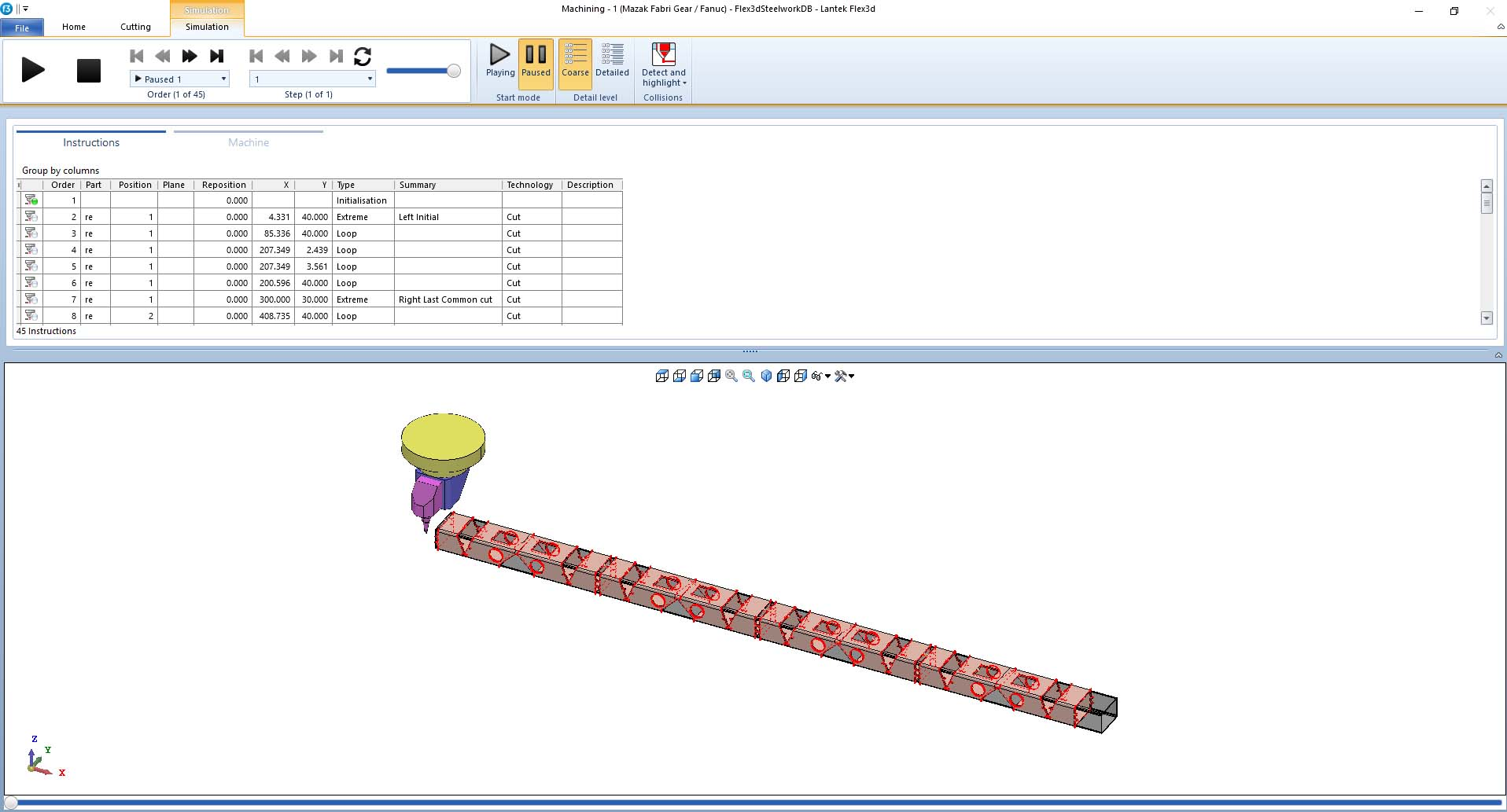 Lantek Flex3d Steelwork  - Simulazione