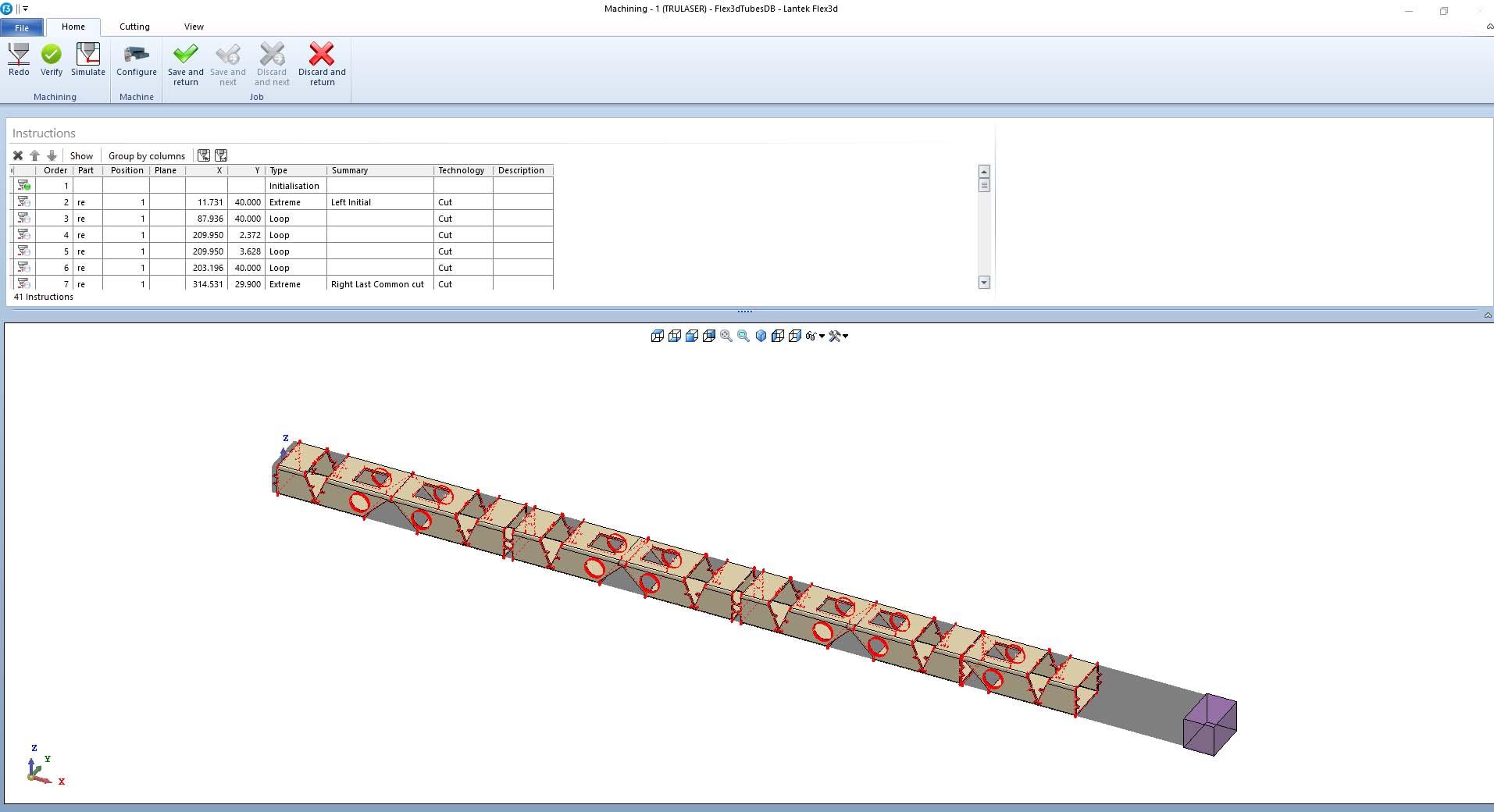 Lantek Expert Tubes  - Simulación