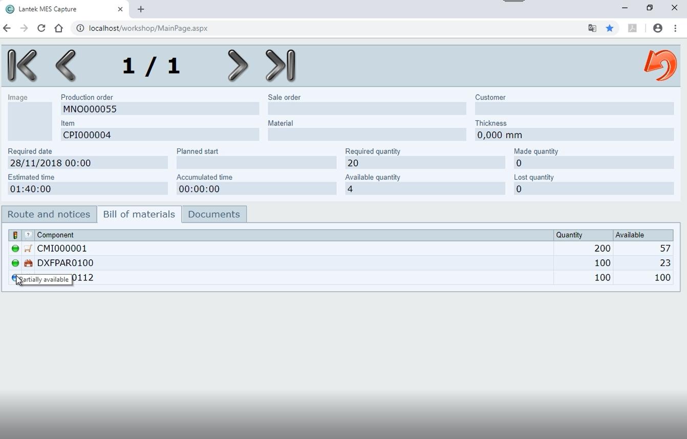 Lantek Workshop Capture  - Operation validation