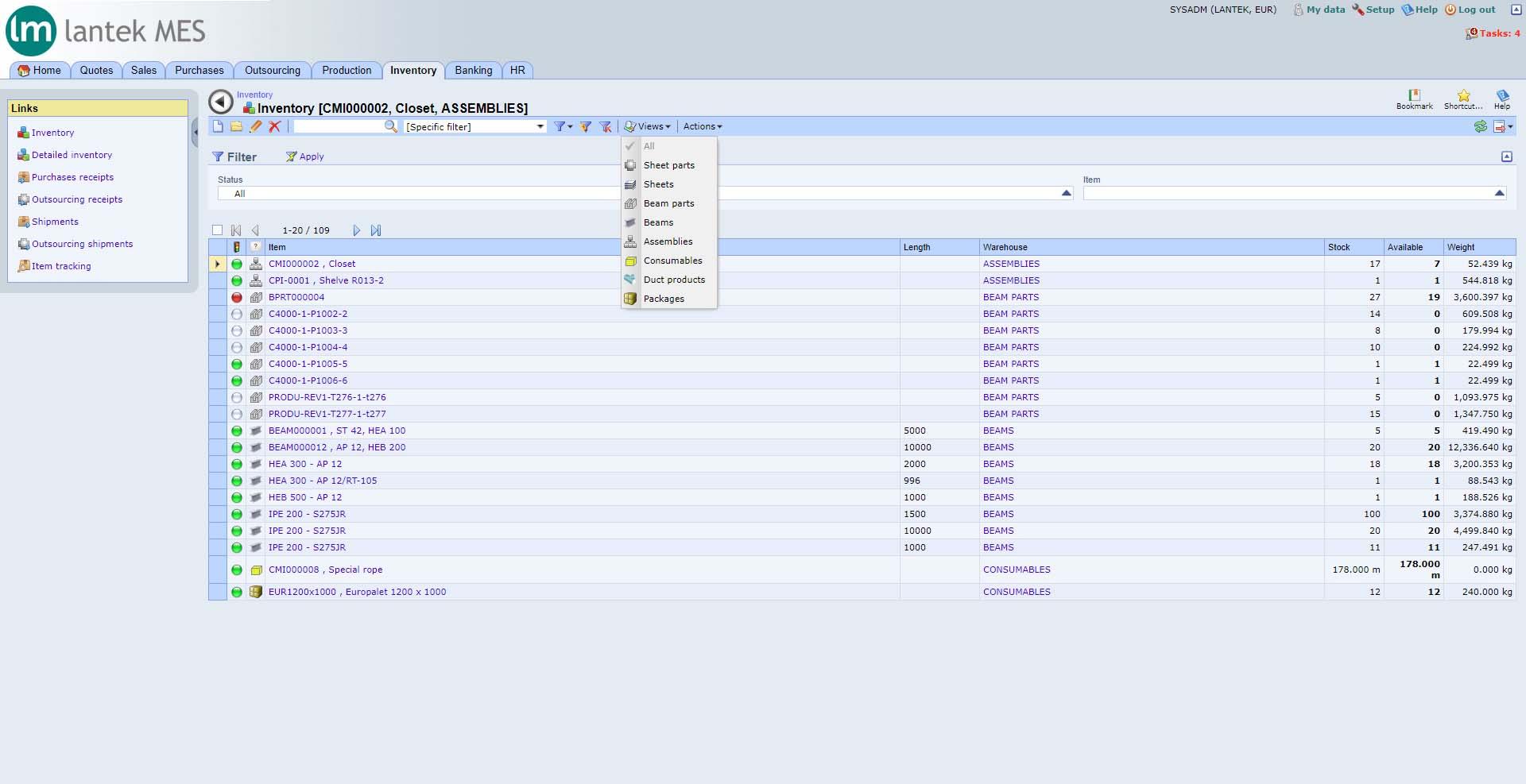 Lantek Integra Inventory  - Plattenbestand