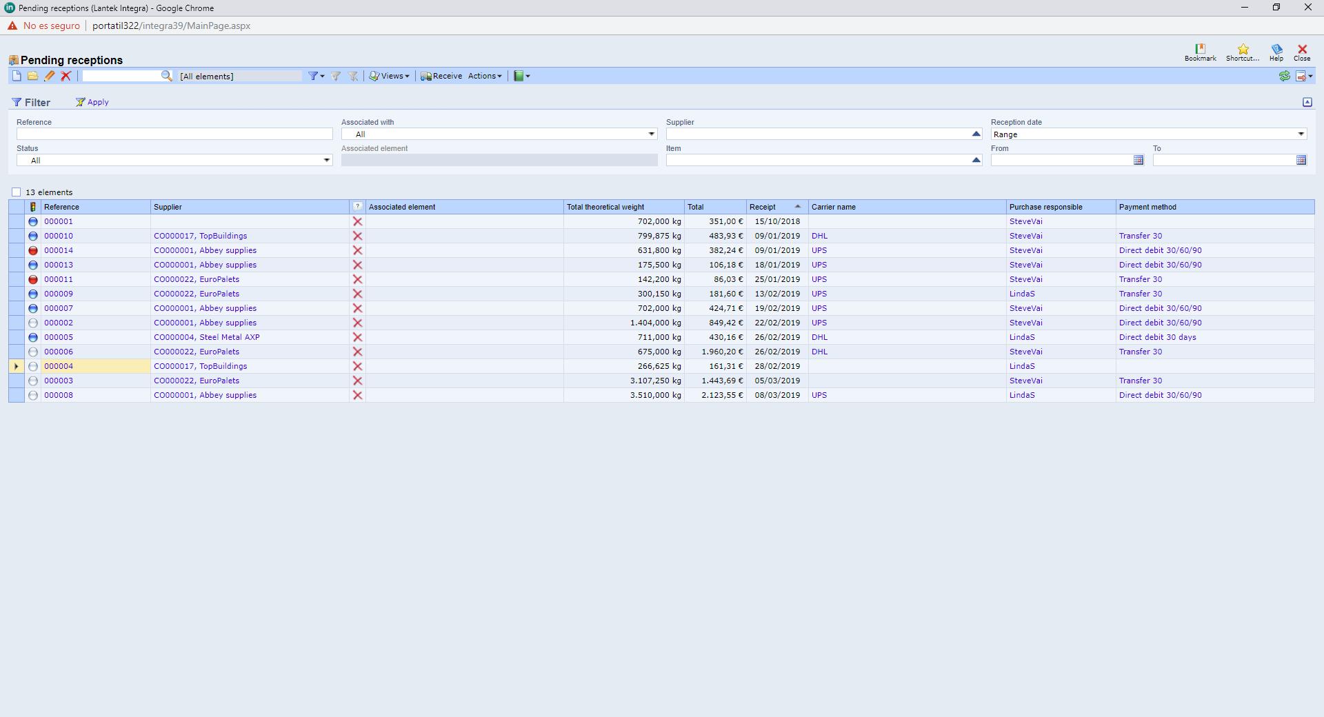Lantek integra Inventory  - Reçus en attente