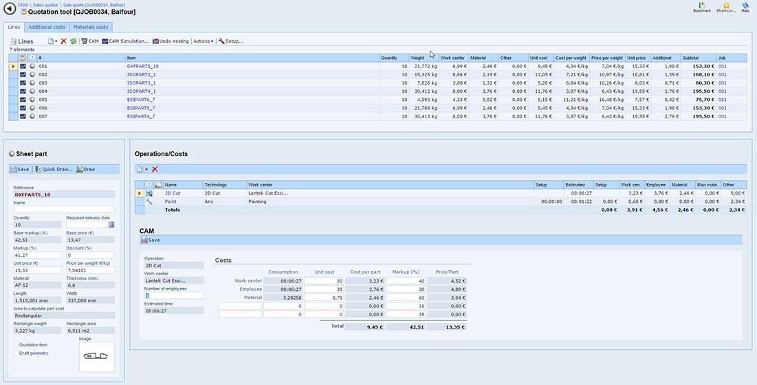 Lantek Integra Quotes - Kalkulationswerkzeug