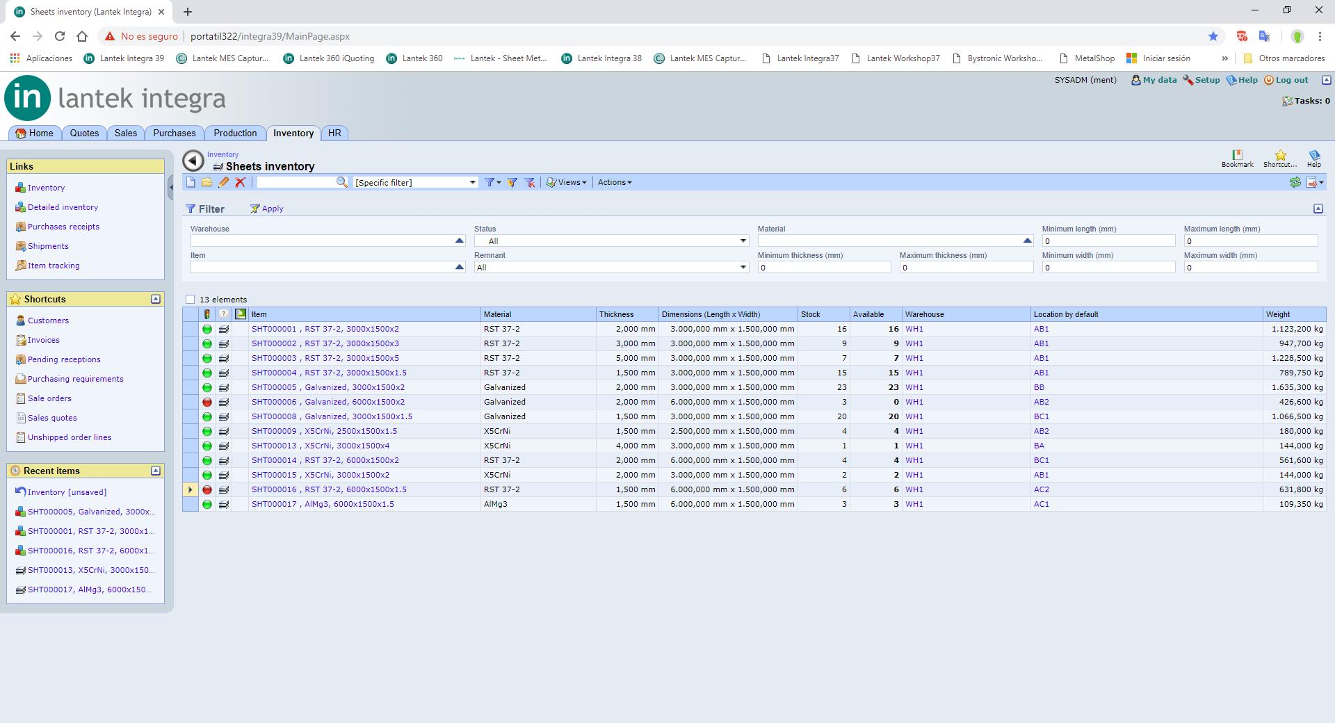 Lantek Integra Inventory  - Bewegungen