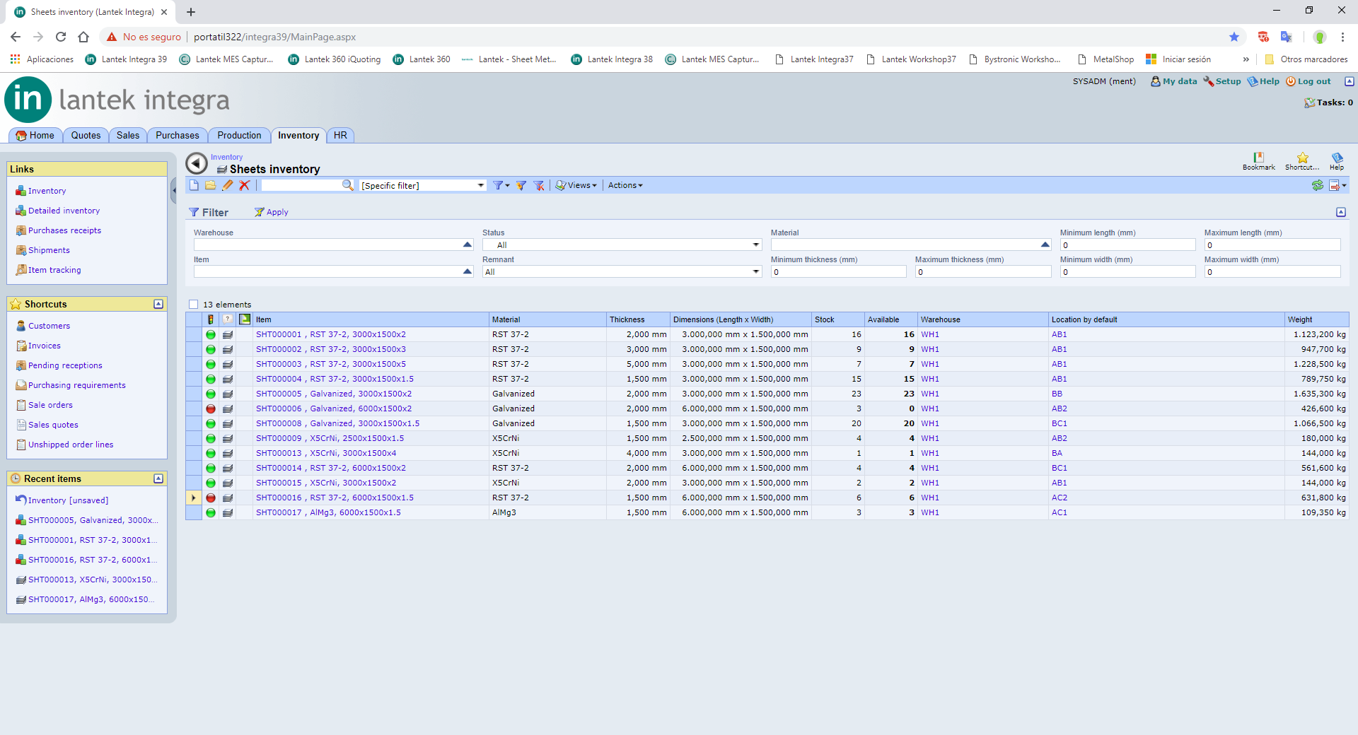Lantek Integra Inventory  - Movements