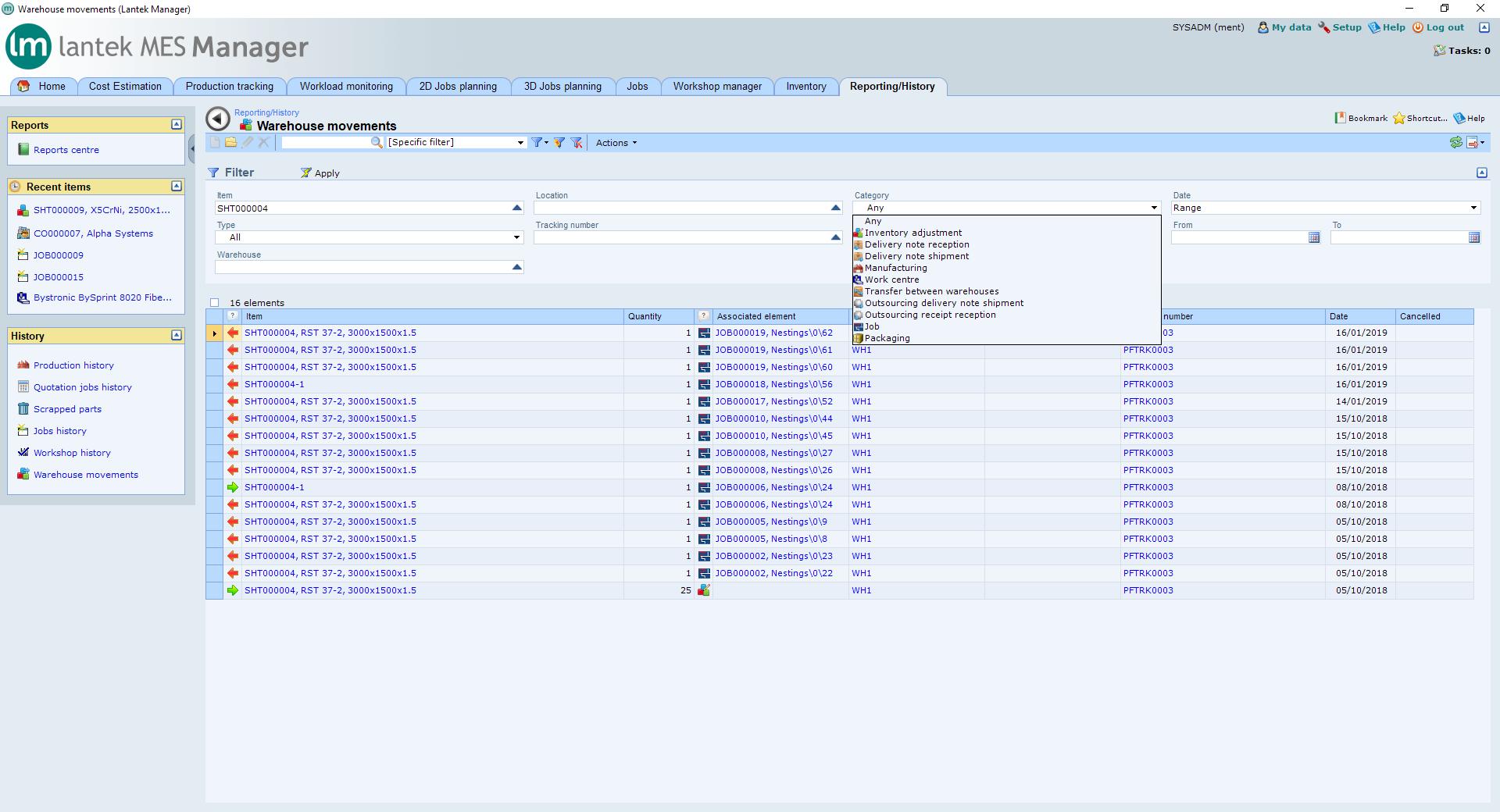 Lantek Integra Inventory  - 창고 구조