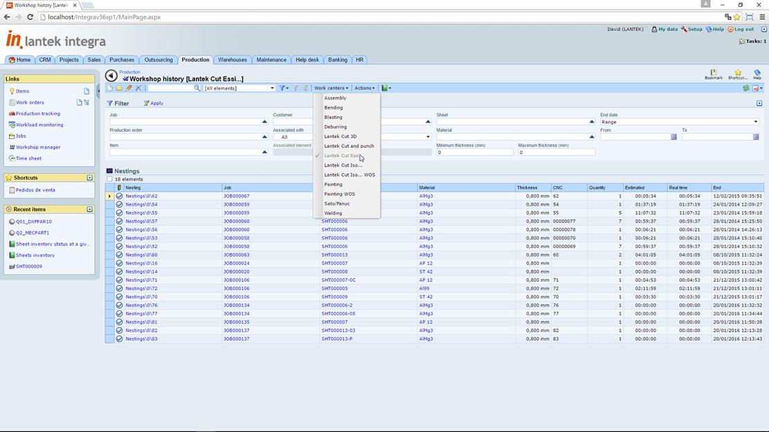 Lantek Integra Manufacturing  - Storico di produzione