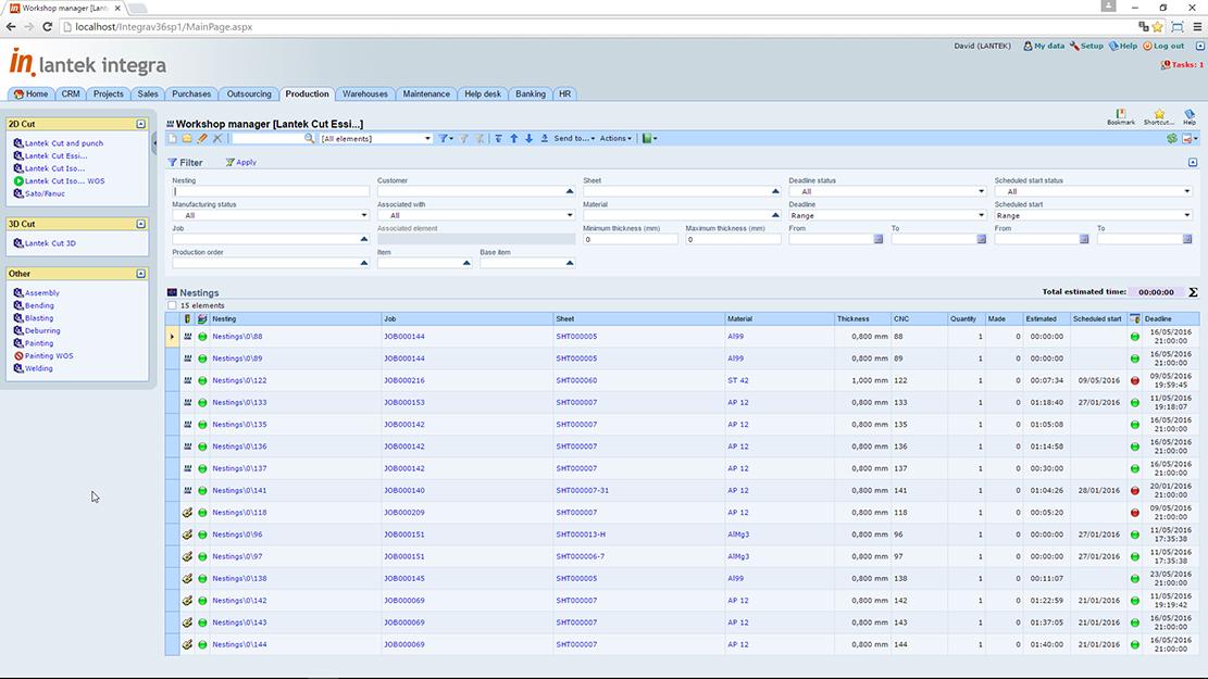 Lantek Integra Manufacturing  - Gestione dell'officina
