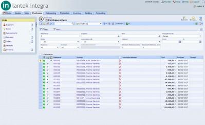 Lantek Integra Purchases  - Purchase order list