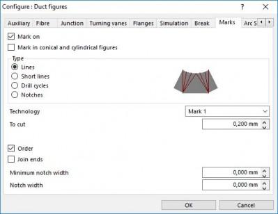 Lantek Expert Duct  - Configurar marcas