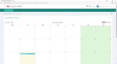 MES Plus -  Maintenance Calendar