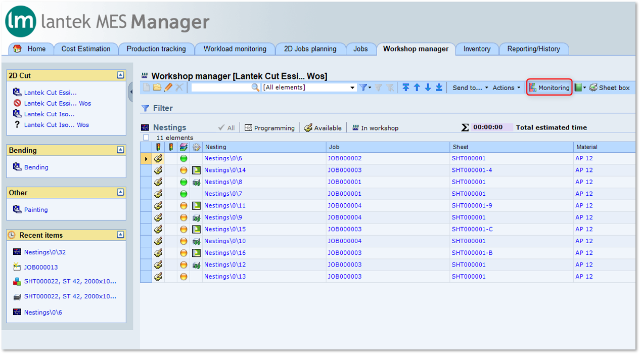 Lantek Manager  - Workshop management