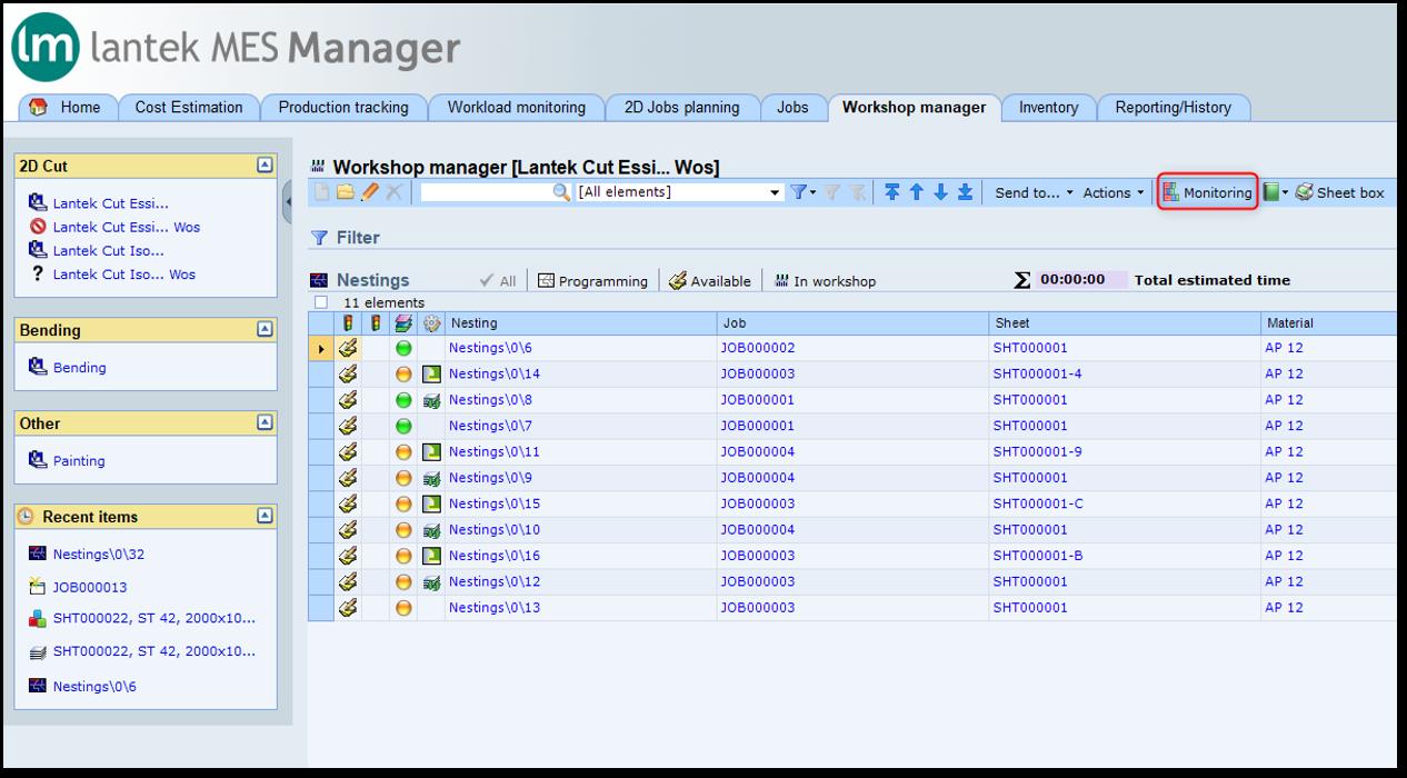Lantek Manager  - 워크샵 관리